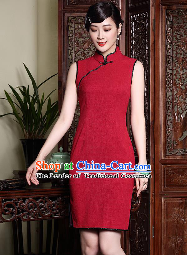 Traditional Ancient Chinese Young Lady Red Wedding Cheongsam, Republic of China Qipao Tang Suit Dress for Women