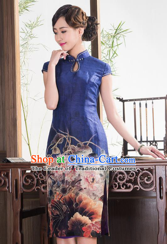 Traditional Ancient Chinese Young Lady Blue Printing Wedding Cheongsam, Republic of China Qipao Tang Suit Dress for Women