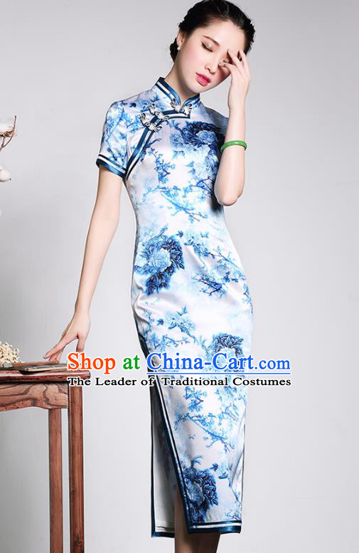 Traditional Ancient Chinese Young Lady Blue and White Porcelain Silk Cheongsam, Republic of China Qipao Tang Suit Dress for Women
