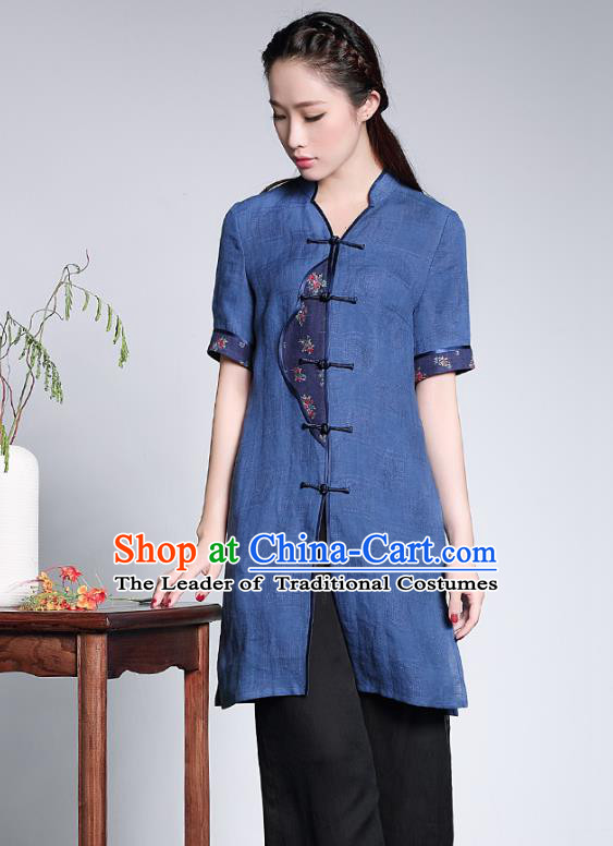 Traditional Ancient Chinese Young Lady Blue Linen Cheongsam Coats, Republic of China Qipao Tang Suit Blouse for Women