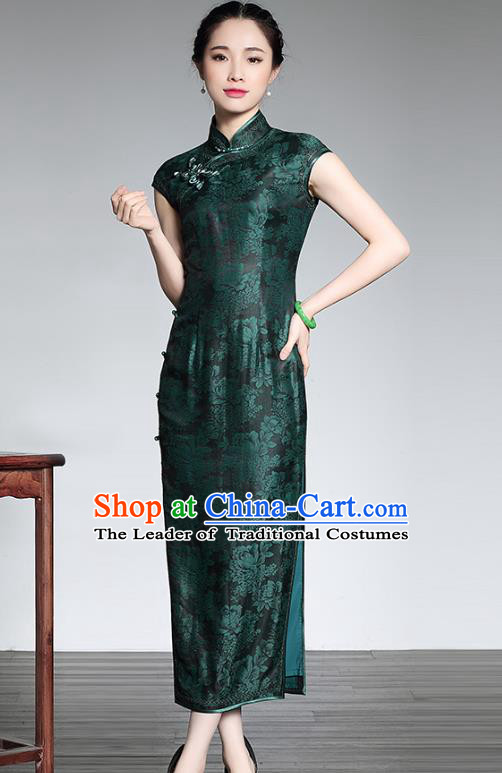 Traditional Ancient Chinese Young Lady Green Silk Cheongsam, Asian Republic of China Qipao Tang Suit Dress for Women