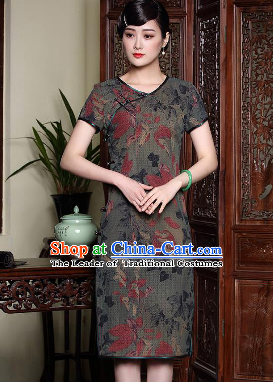 Traditional Ancient Chinese Young Lady Plated Buttons Cheongsam, Asian Republic of China Qipao Tang Suit Dress for Women