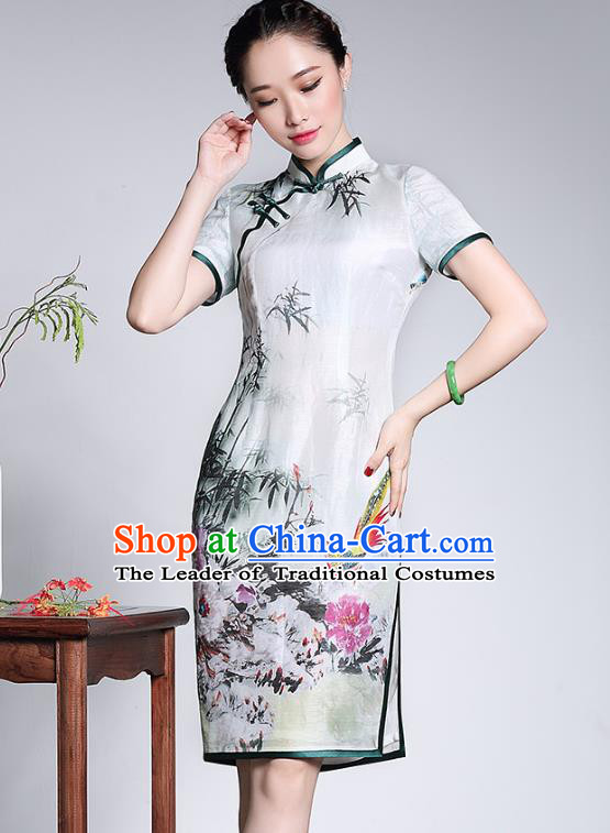 Traditional Ancient Chinese Young Lady Plated Buttons Cheongsam, Asian Republic of China Printing Qipao Tang Suit Dress for Women