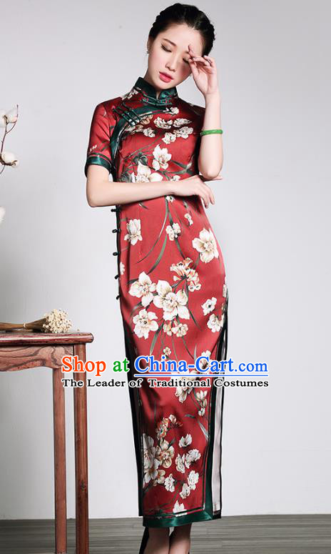 Traditional Ancient Chinese Young Lady Red Silk Cheongsam, Republic of China Stand Collar Qipao Tang Suit Dress for Women