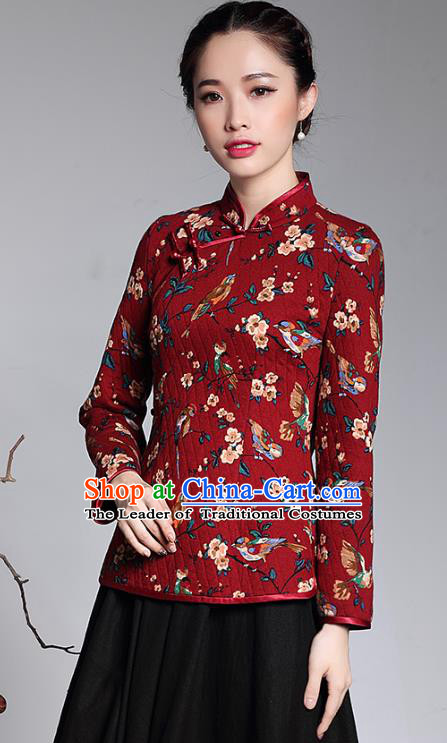 Traditional Ancient Chinese Young Lady Plated Buttons Red Cheongsam Blouse, Asian Republic of China Printing Qipao Tang Suit Upper Outer Garment for Women
