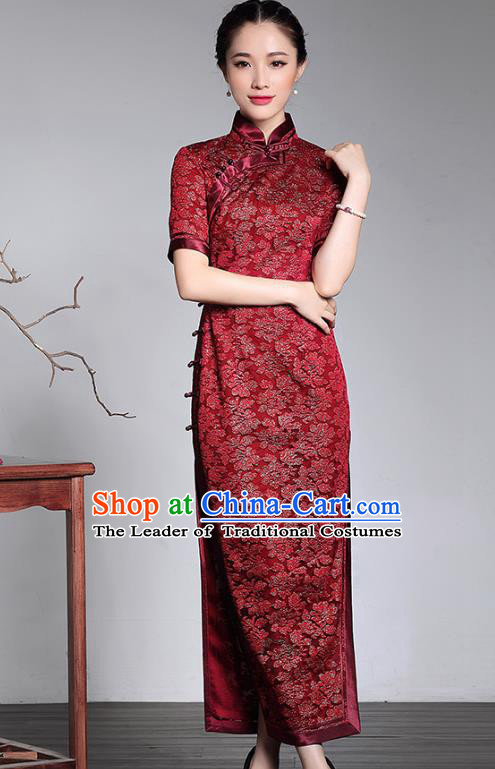 Traditional Ancient Chinese Young Lady Plated Buttons Silk Cheongsam, Asian Republic of China Red Lace Qipao Tang Suit Dress for Women