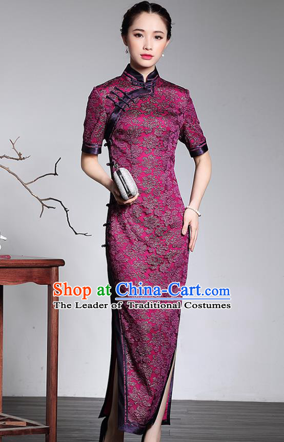 Traditional Ancient Chinese Young Lady Plated Buttons Silk Cheongsam, Asian Republic of China Purple Lace Qipao Tang Suit Dress for Women