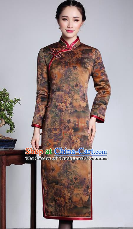 Traditional Ancient Chinese Young Lady Plated Buttons Watered Gauze Cheongsam, Asian Republic of China Qipao Tang Suit Dress for Women