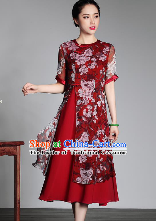 Traditional Ancient Chinese Young Lady Plated Buttons Printing Cheongsam, Asian Republic of China Red Qipao Tang Suit Dress for Women