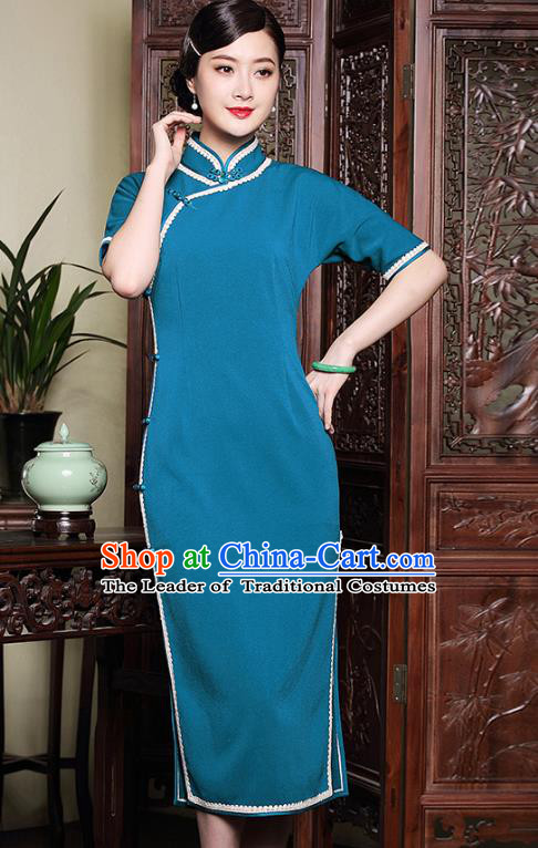 Traditional Ancient Chinese Young Lady Plated Buttons Blue Cheongsam, Asian Republic of China Qipao Tang Suit Dress for Women