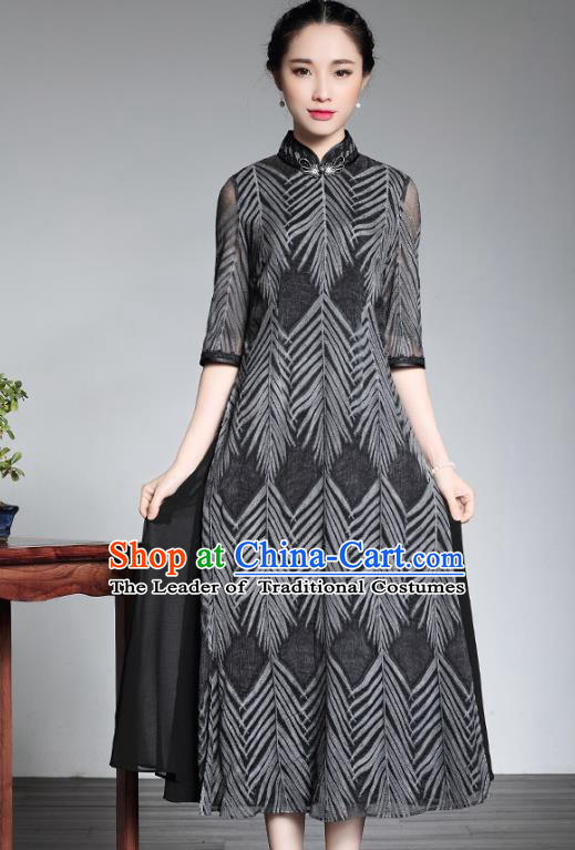 Traditional Ancient Chinese Young Lady Plated Buttons Grey Ao Dai Cheongsam, Asian Republic of China Silk Qipao Tang Suit Dress for Women
