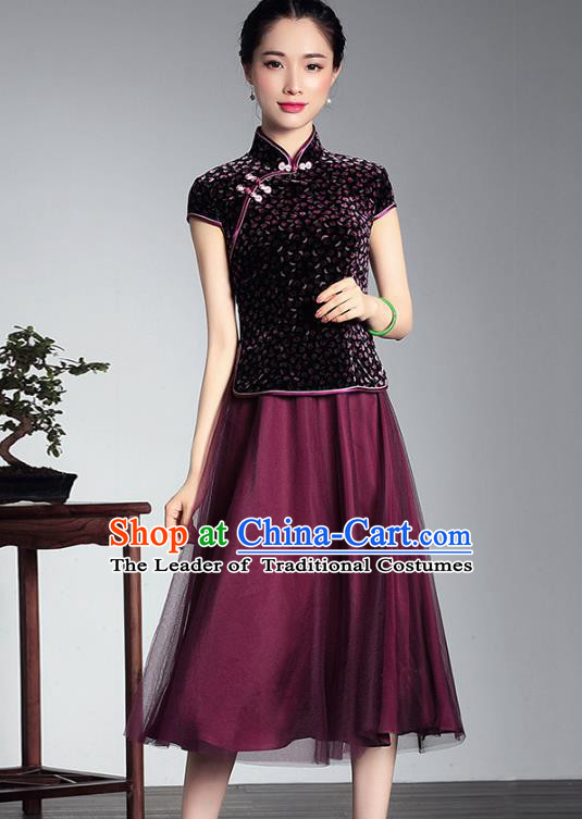 Traditional Ancient Chinese Young Lady Plated Buttons Velvet Cheongsam, Asian Republic of China Qipao Tang Suit Dress for Women
