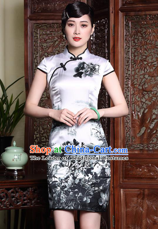 Traditional Ancient Chinese Young Lady Plated Buttons Ink Painting Cheongsam, Asian Republic of China Silk Qipao Tang Suit Dress for Women