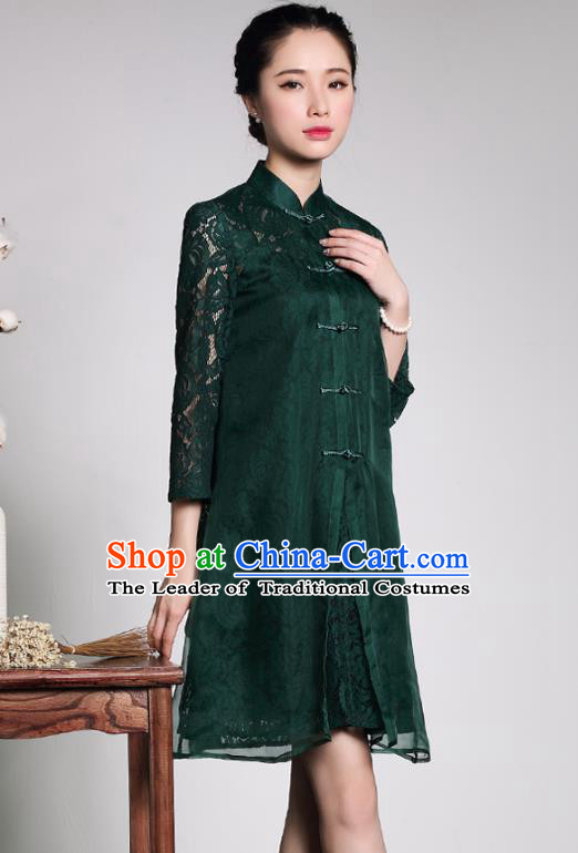 Traditional Ancient Chinese Young Lady Plated Buttons Green Lace Cheongsam, Asian Republic of China Qipao Tang Suit Dress for Women