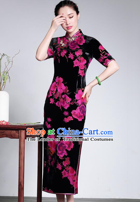 Traditional Ancient Chinese Young Lady Plated Buttons Velvet Cheongsam, Asian Republic of China Printing Qipao Tang Suit Dress for Women