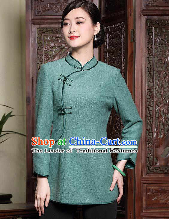 Traditional Ancient Chinese Young Lady Plated Buttons Green Cheongsam Blouse, Asian Republic of China Qipao Dress Tang Suit Shirts for Women