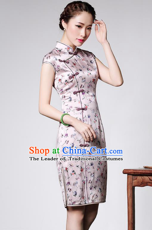 Traditional Ancient Chinese Young Lady Plated Buttons Pink Short Cheongsam, Asian Republic of China Silk Qipao Tang Suit Dress for Women
