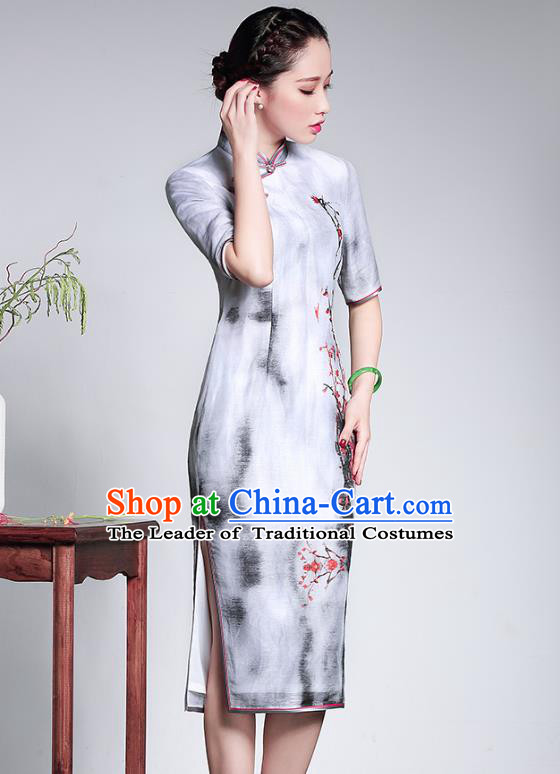 Traditional Ancient Chinese Young Lady Retro Silk Cheongsam White Printing Dress, Asian Republic of China Qipao Tang Suit Clothing for Women