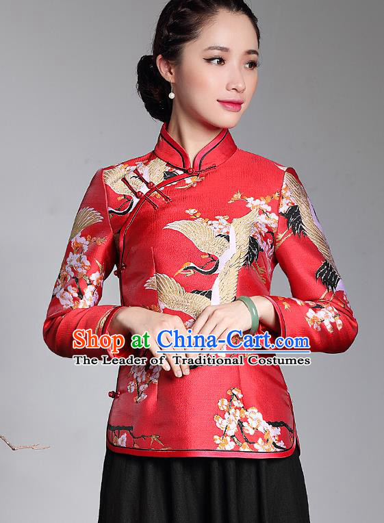 Traditional Ancient Chinese Young Lady Retro Red Brocade Cheongsam Blouse, Asian Republic of China Qipao Tang Suit  Upper Outer Garment for Women