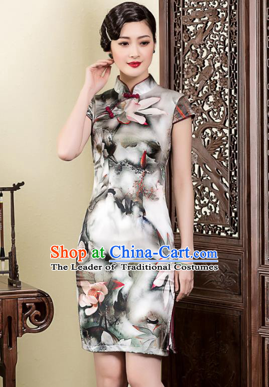 Traditional Ancient Chinese Young Lady Retro Ink Painting Lotus Silk Cheongsam, Asian Republic of China Qipao Tang Suit Dress for Women