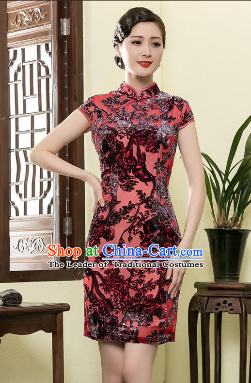 Traditional Ancient Chinese Young Lady Retro Red Velvet Cheongsam, Asian Republic of China Qipao Tang Suit Dress for Women