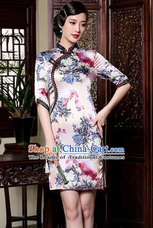 Traditional Ancient Chinese Young Lady Retro Printing Silk Cheongsam, Asian Republic of China Qipao Tang Suit Dress for Women