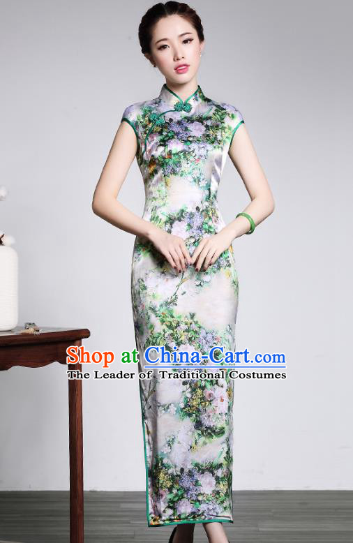 Traditional Ancient Chinese Young Lady Retro Printing Silk Long Cheongsam, Asian Republic of China Qipao Tang Suit  Dress for Women