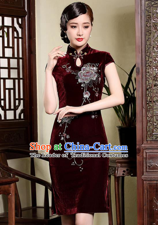 Traditional Ancient Chinese Young Lady Retro Cheongsam Wine Red Velvet Dress, Asian Republic of China Qipao Tang Suit Clothing for Women