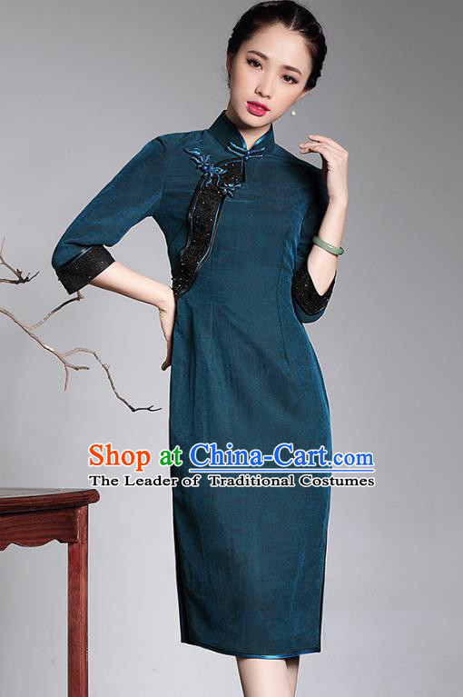Traditional Ancient Chinese Young Lady Retro Green Watered Gauze Cheongsam, Asian Republic of China Qipao Tang Suit  Dress for Women