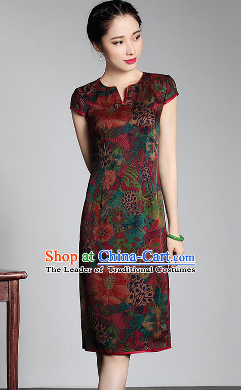 Traditional Ancient Chinese Young Lady Retro Watered Gauze Cheongsam, Asian Republic of China Qipao Tang Suit Dress for Women