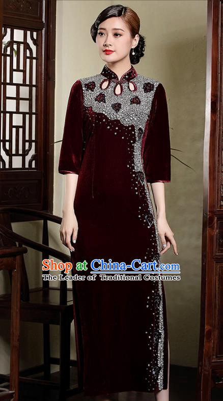 Traditional Ancient Chinese Young Lady Retro Crystal Wine Red Velvet Cheongsam, Asian Republic of China Qipao Tang Suit Dress for Women
