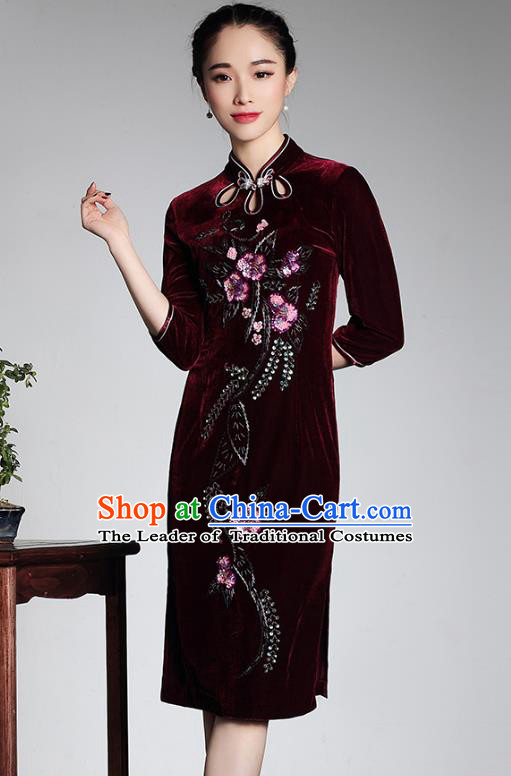 Traditional Ancient Chinese Young Lady Retro Wine Red Velvet Hot Drilling Cheongsam, Asian Republic of China Qipao Tang Suit Dress for Women