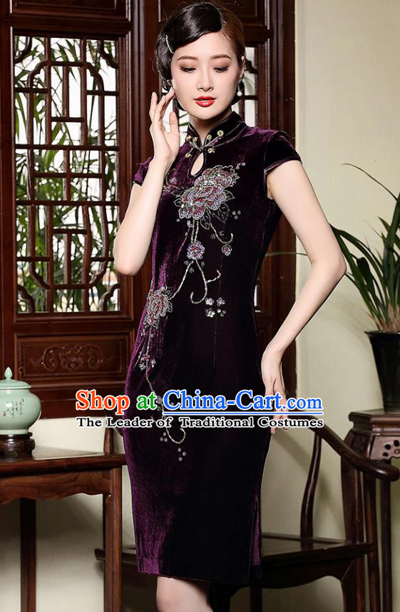 Traditional Ancient Chinese Young Lady Retro Cheongsam Purple Velvet Dress, Asian Republic of China Qipao Tang Suit Clothing for Women