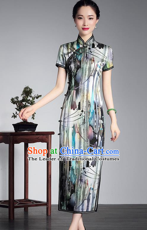 Traditional Ancient Chinese Young Lady Retro Silk Printing Cheongsam, Asian Republic of China Qipao Tang Suit Dress for Women