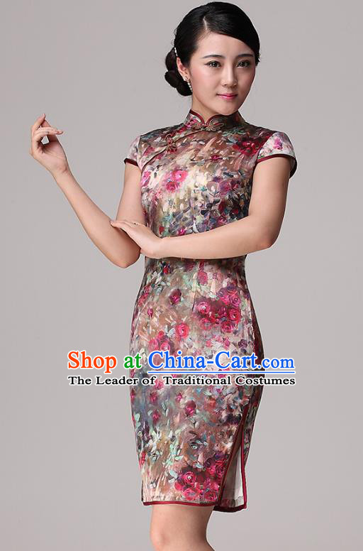 Traditional Ancient Chinese Young Lady Retro Stand Collar Printing Flowers Cheongsam, Asian Republic of China Qipao Tang Suit Dress for Women