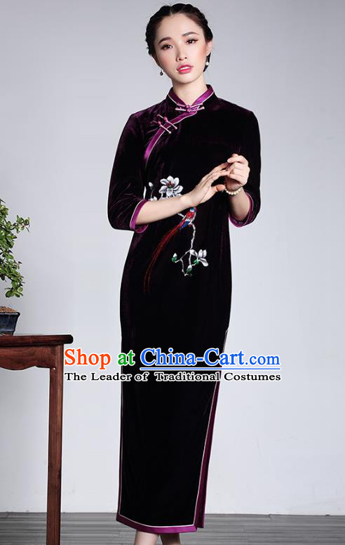 Asian Republic of China Top Grade Plated Buttons Purple Velvet Cheongsam, Traditional Chinese Tang Suit Qipao Dress for Women