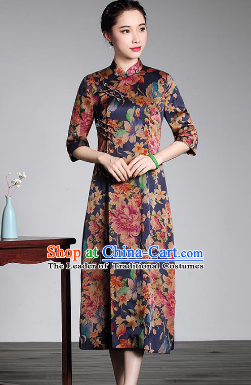 Asian Republic of China Top Grade Plated Buttons Printing Watered Gauze Long Cheongsam, Traditional Chinese Tang Suit Qipao Dress for Women