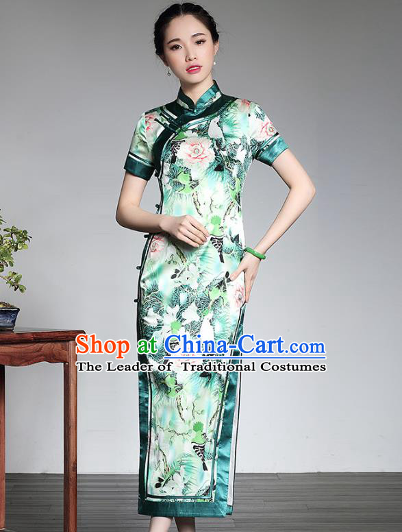 Asian Republic of China Top Grade Plated Buttons Printing Green Silk Long Cheongsam, Traditional Chinese Tang Suit Qipao Dress for Women