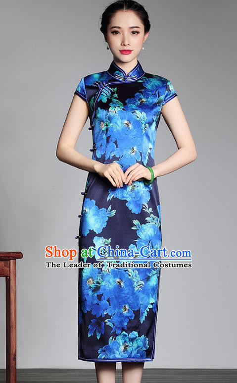 Asian Republic of China Top Grade Plated Buttons Printing Blue Silk Long Cheongsam, Traditional Chinese Tang Suit Qipao Dress for Women