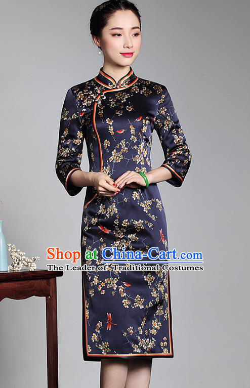 Asian Republic of China Top Grade Plated Buttons Printing Navy Silk Cheongsam, Traditional Chinese Tang Suit Qipao Dress for Women