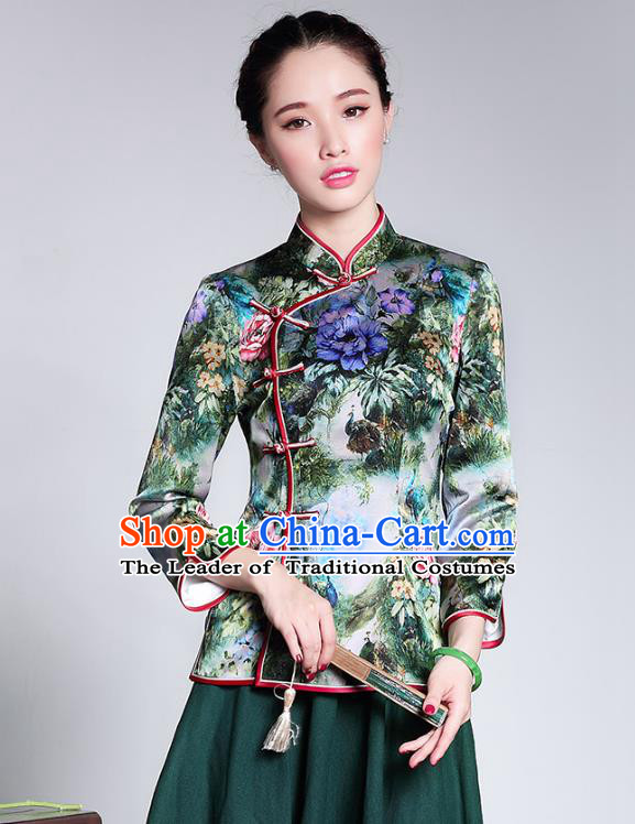 Traditional Ancient Chinese Young Lady Retro Stand Collar Printing Silk Short Cheongsam Blouse, Asian Republic of China Qipao Tang Suit Upper Outer Garment for Women