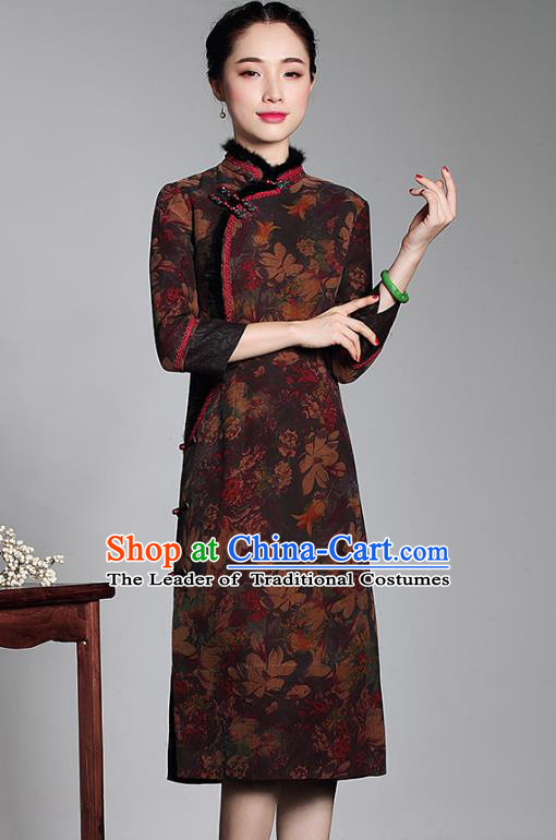 Asian Republic of China Top Grade Plated Buttons Printing Cheongsam, Traditional Chinese Tang Suit Qipao Dress Watered Gauze Robe for Women