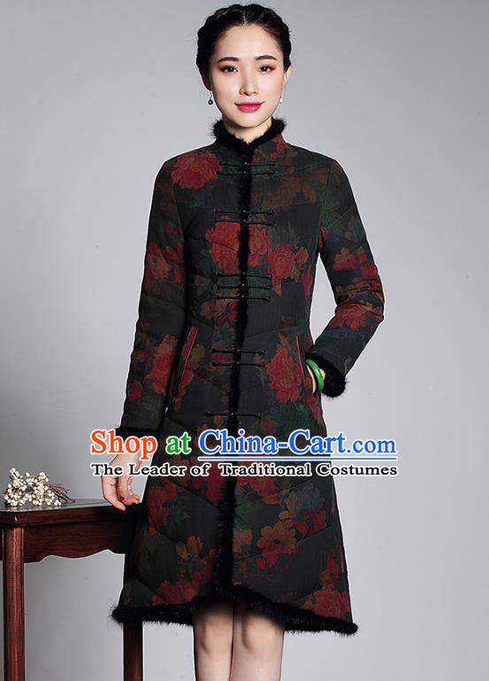 Top Grade Asian Republic of China Plated Buttons Cheongsam Dust Coat, Traditional Chinese Tang Suit Overcoat for Women