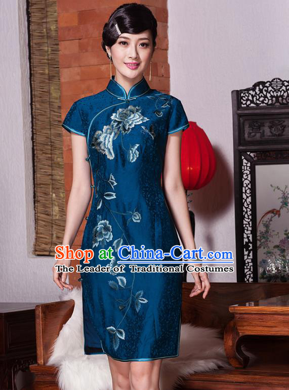 Top Grade Asian Republic of China Plated Buttons Embroidered Cheongsam, Traditional Chinese Tang Suit Qipao Dress for Women