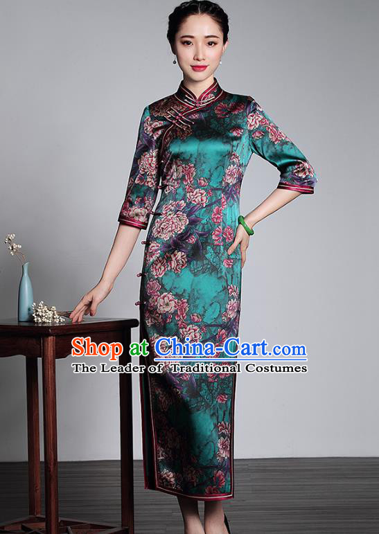 Asian Republic of China Top Grade Plated Buttons Printing Green Silk Cheongsam, Traditional Chinese Tang Suit Qipao Dress for Women