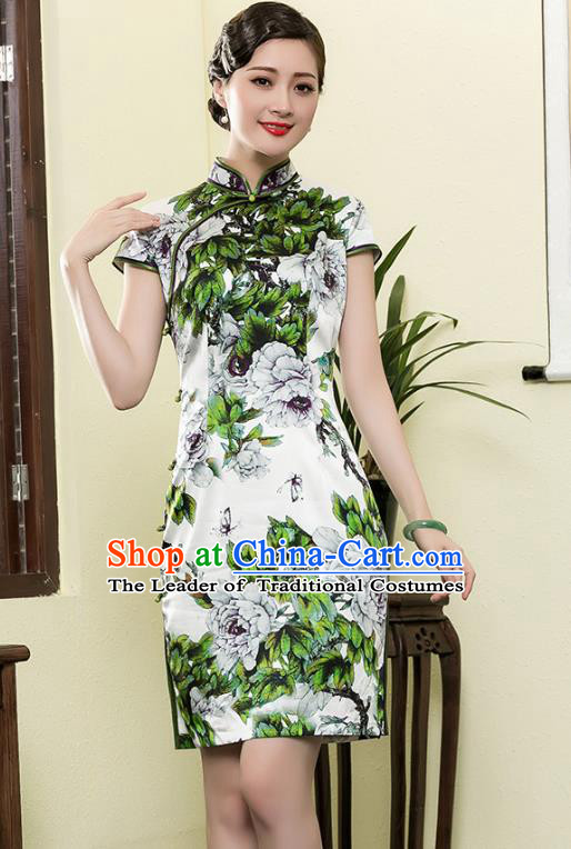 Top Grade Asian Republic of China Plated Buttons Printing Green Flowers Cheongsam, Traditional Chinese Tang Suit Qipao Dress for Women