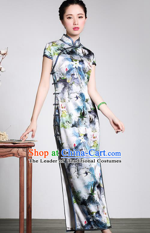 Top Grade Asian Republic of China Plated Buttons Printing Cheongsam, Traditional Chinese Tang Suit Qipao Dress for Women