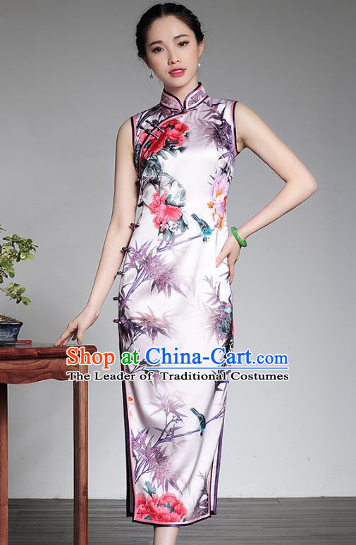 Top Grade Asian Republic of China Plated Buttons Printing Bamboo Cheongsam, Traditional Chinese Tang Suit Qipao Dress for Women
