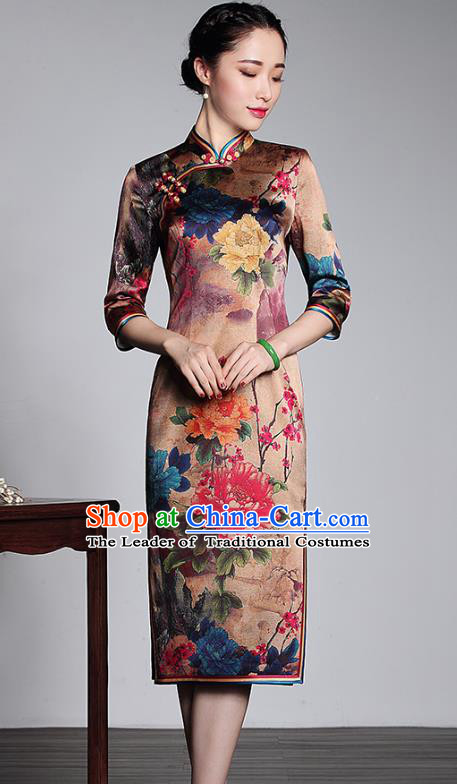 Top Grade Asian Republic of China Plated Buttons Printing Peony Cheongsam, Traditional Chinese Tang Suit Qipao Dress for Women