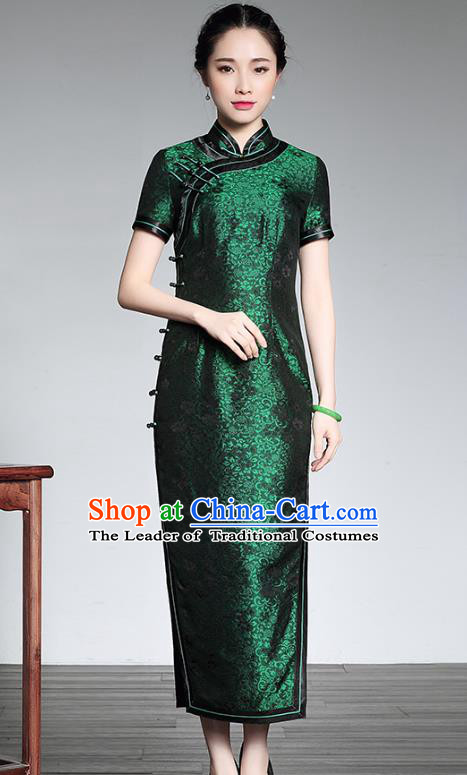 Top Grade Asian Republic of China Plated Buttons Green Silk Cheongsam, Traditional Chinese Tang Suit Qipao Dress for Women